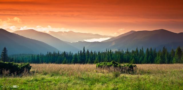 sunrise in carpathians