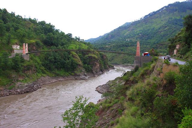 First suspension bridge upstream of Kohala checkpoint, Jhelum river, Kashmir