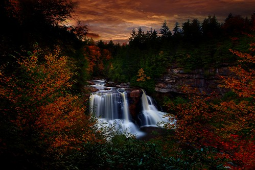 Autumn Waterfall Sunset by Nature Pictures by ForestWander