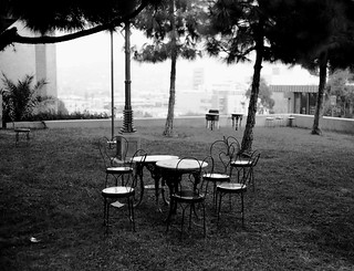 Empty Table Setting at Barnsdall Park - Nov. 2009 - Shot on Film