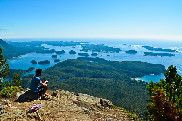 View from the top of lone cone mountain, tofino, bc