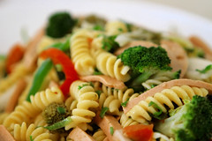vegetable(0.0), spaghetti(0.0), produce(0.0), broccoli(1.0), pasta salad(1.0), fusilli(1.0), vegetarian food(1.0), pasta(1.0), food(1.0), dish(1.0), rotini(1.0), cuisine(1.0),