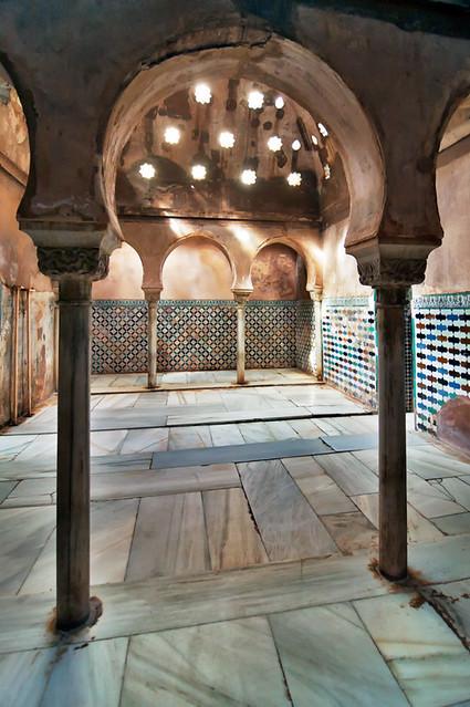 Baños Arabe De Granada:Sala de las camas, baños árabes, Alhambra, Granada