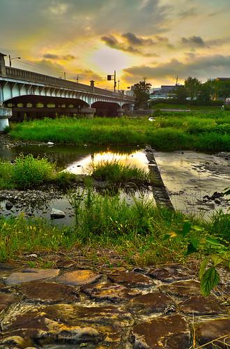 japan sunrise river kyoto hdr highdynamicrange oldbridge