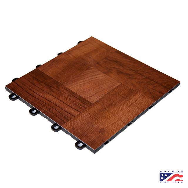Laminate red wood interlocking floor tiles flickr for Interlocking laminate flooring