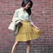 Modcloth Mustard Yellow Pleated Skirt