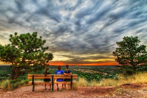city trees people orange sun color pine clouds sunrise bench landscape nikon colorado sitting hiking boulder hdr d80