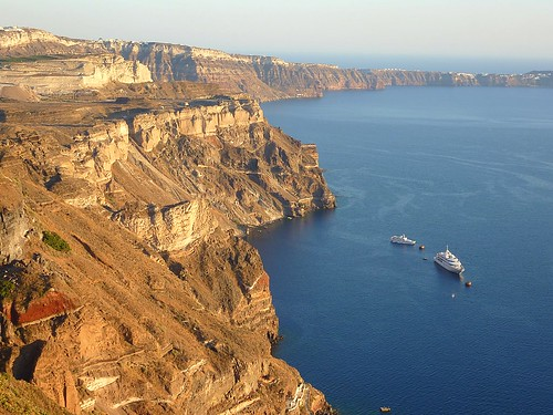View across collapsed caldera on Santorini