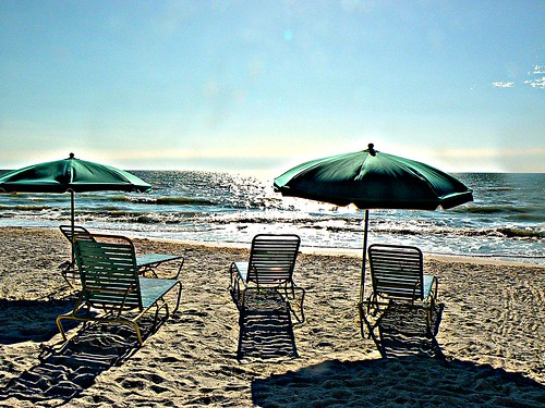 ocean blue sky sun beach water umbrella sand day chairs horizon clear mygearandme musictomyeyeslevel1