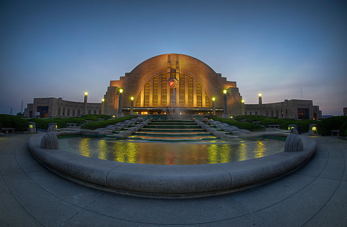 Union Terminal just after dusk