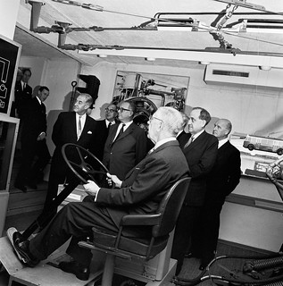 King Gustav VI Adolf visits the Stockholm transport museum  in 1963