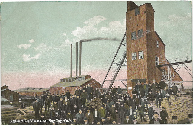 COAL Michigan Mining History Bay City MI Miners at Auburn Coal Mine Shaft Rock House German Printed near Midland MI Unsent Card 6238