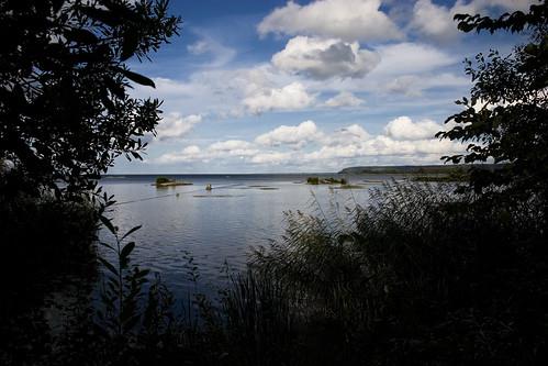 summer lake water clouds landscape greenery framing vänern vänersborg