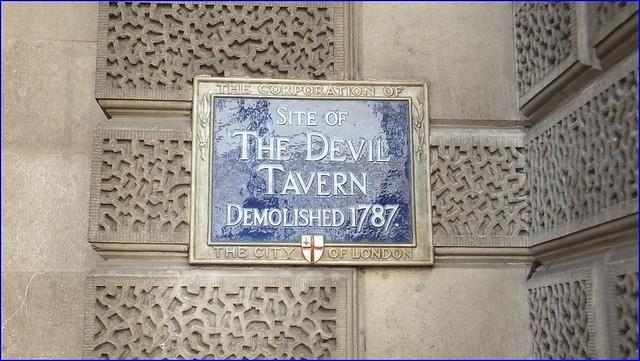 The Devil Tavern, London blue plaque - Site of The Devil Tavern demolished 1787.