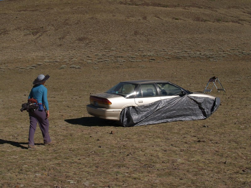 We arrived back at the car at the Barcroft Gate, and no marmots ate through our tarp!