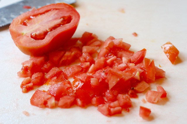Chopped tomatoes by Eve Fox, Garden of Eating blog, copyright 2011