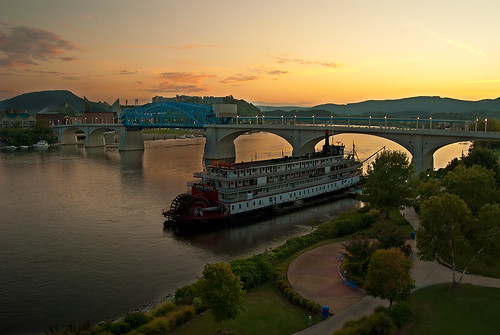park city bridge cruise sunset chattanooga water river landscape hotel nikon ship tennessee deltaqueen d80