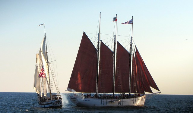Seen here the smaller brigantine Amazing Grace outmanouvers the large schooner American Pride