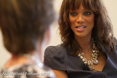 Pattie Sellers and Tyra Banks at the Notebook Mentoring session, supported by Ann Inc. and Thomson Reuters, at the Fortune Most Powerful Women Summit in Laguna Niguel, CA.