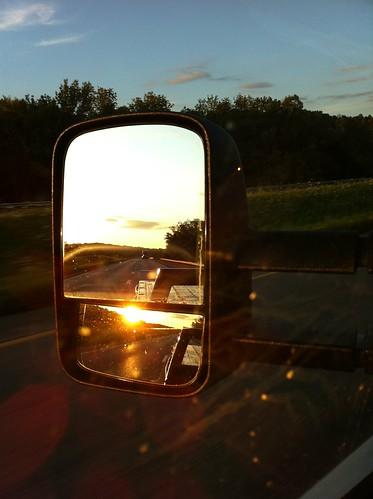 sunset sun car truck mirror driving iphone iphone4