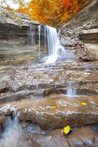 longexposure autumn orange fall waterfall leaf midwest indiana terrehaute mccormickscreekstatepark