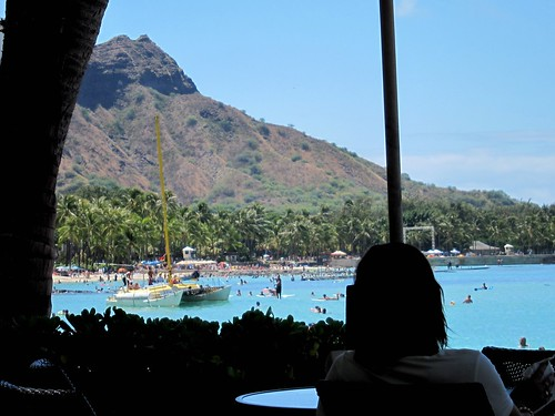 Waikiki Beach and Diamond Head from the Moana Surfrider