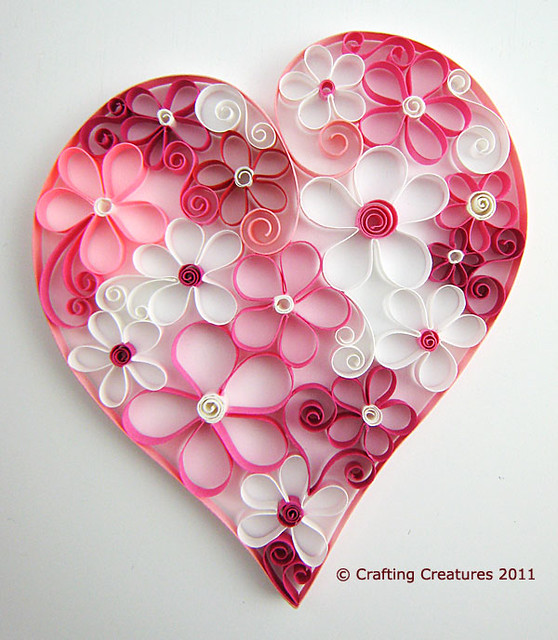 Quilled Heart of Flowers