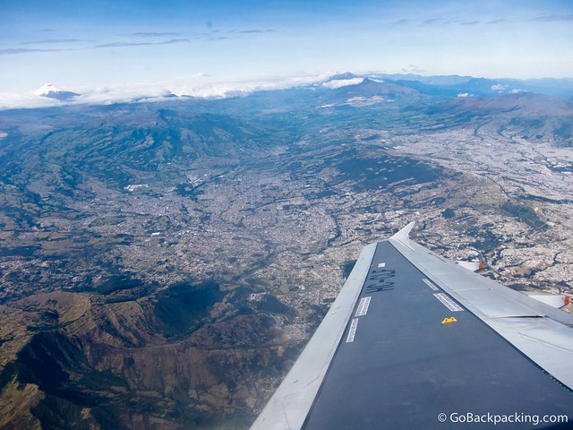 Preparing to land in Quito, Ecuador