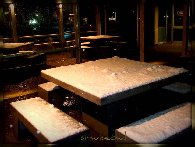 Table snow at burger king flickr photo sharing for Table burger