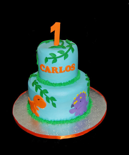 2 tier baby dinosaur 1st birthday cake trex and triceratops