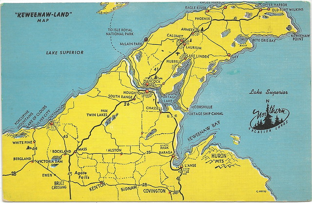 COPPER and IRON Michigan Mining History Keweenaw Peninsula Mine and Town Map Card Unsent Card 22343N