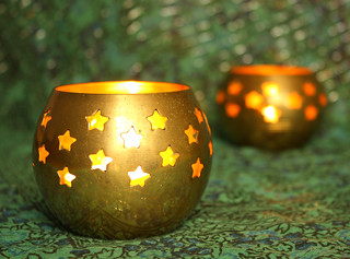 Candle holders with bokeh