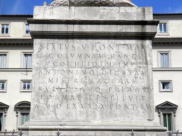 Inscription describing the restoration of the Marcus Aurelius Column, Rome