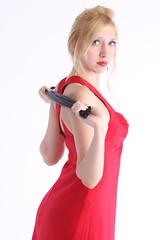 Rachel in red