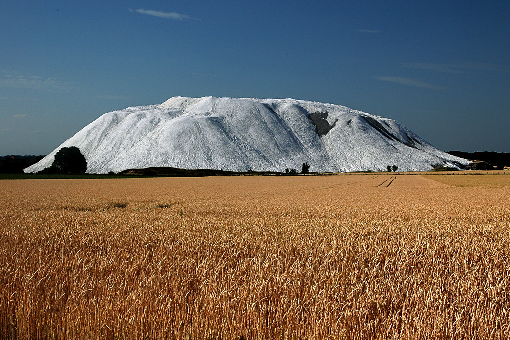 "Snow in summer? (Chalk mountain ""Calimandjaro"" near Hildesheim, Germany)"