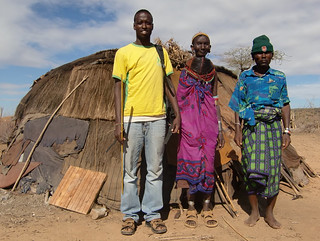 ILRI researcher with local people in Marsabit, Kenya