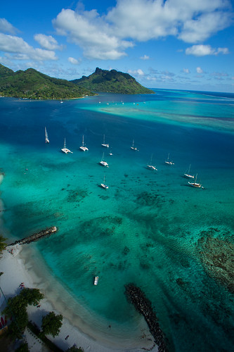 Fare, Huahine, seen from a kite line