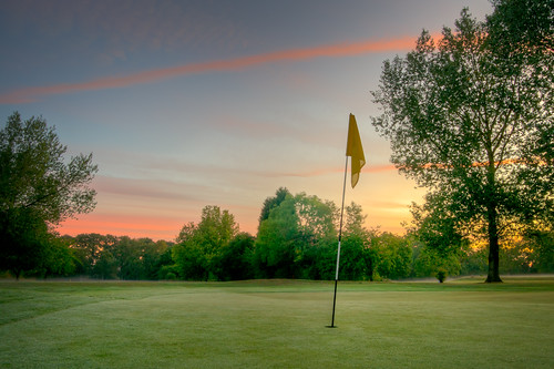 uk morning blue red england orange tree green grass yellow sunrise golf landscape early scenery hole leicestershire britain flag sony leicester course 1750 28 alpha tamron 450 hdr joby gorillapod scraptoft a450