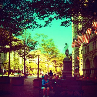 Sitting at the Old Post Office Under the Statue of Ben Franklin on a Bench, #2