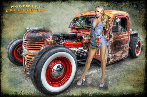 girl detroit mechanic hdr ratrod photomatix woodwarddreamcruise d80 3exp chicksncars
