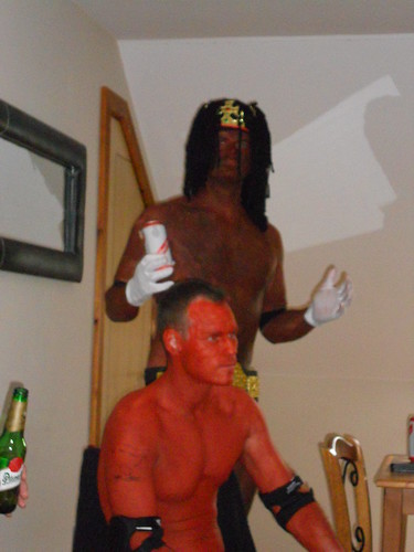 Booker T enjoying a Red Stripe
