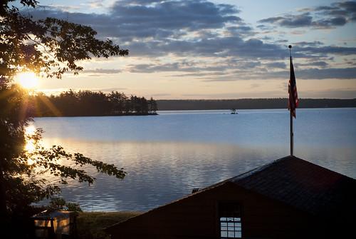 morning lake sunrise dawn maine americanflag calm serene belgradelakes greatpond