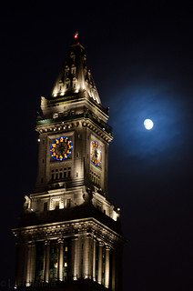 Faneuil Hall clock tower and moon