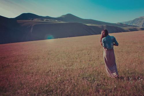 blue light sunset sky woman sun mountain girl field grass sunrise walking dress