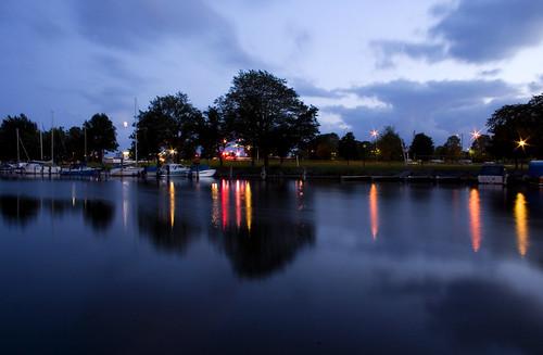 longexposure water night reflections lights evening canal vänersborg