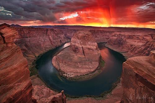 sunset arizona river landscape colorado bend scenic canyon monsoon page horseshoe horseshoebend