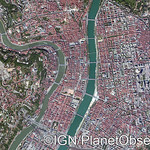 Lyon city center, France - Aerial view - IGN/PlanetObserver