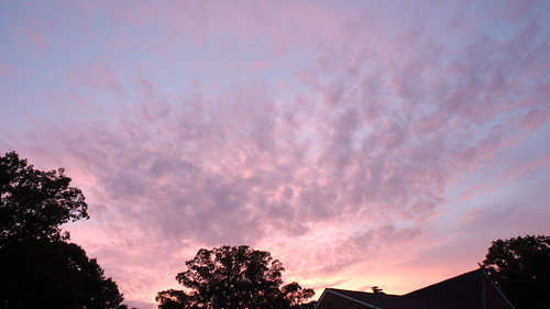 pink sunset orange clouds hurricane irene banded