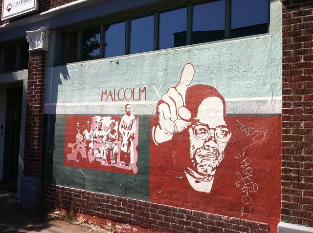Malcolm x mural it 39 s a shame some jerk stuck graffiti for Malcolm x mural