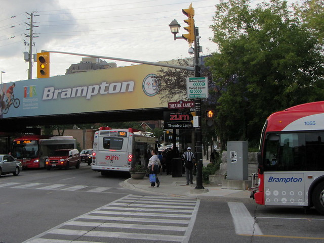 Buses meeting at Downtown Brampton